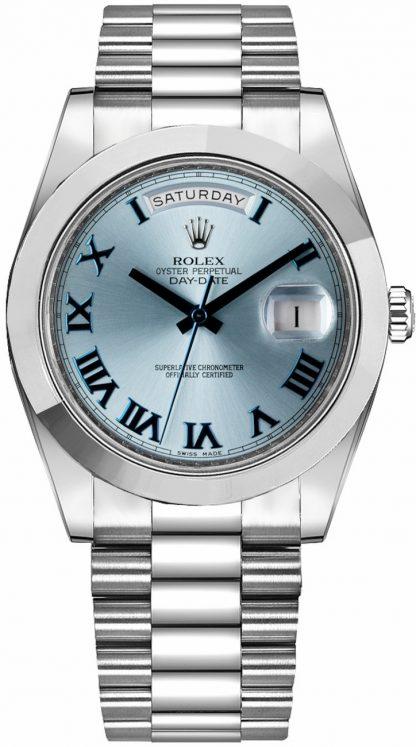 replique Montre Homme Rolex Day-Date 41 Ice Blue Dial Platine 218206