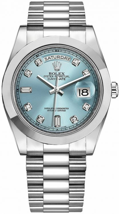 replique Montre Homme Rolex Day-Date 41 Ice Blue Diamond Dial Platinum 218206
