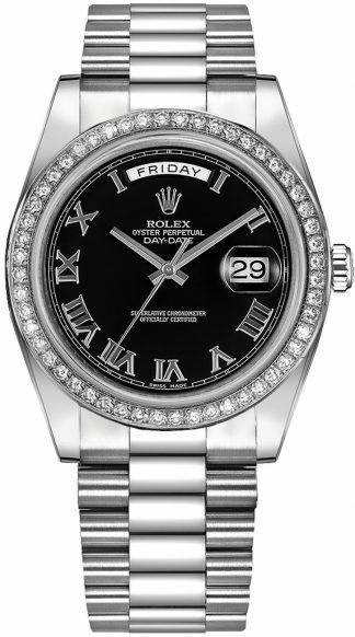 replique Montre Homme Rolex Day-Date 41 Or Blanc Noir Cadran Chiffre Romain 218349