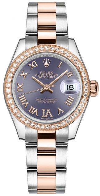 replique Montre Rolex Datejust 31 Aubergine Dial Two Tone pour femme 278381RBR