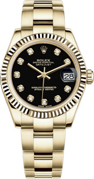 replique Montre Rolex Datejust 31 Black Diamond en or massif 178278