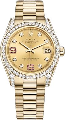 replique Montre Rolex Datejust 31 Champagne Diamond & Rubies 178158