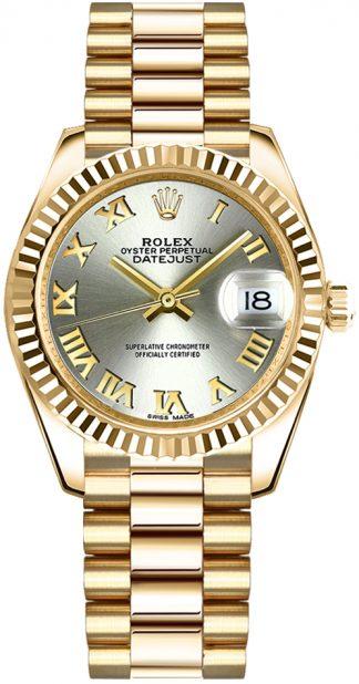 replique Montre Rolex Datejust 31 automatique en or jaune massif 18 carats 178278