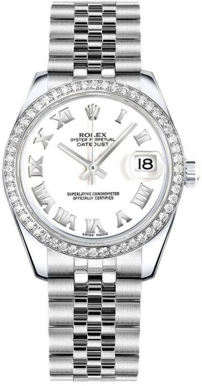 replique Montre Rolex Datejust 31 cadran blanc avec chiffres romains pour femme 178384