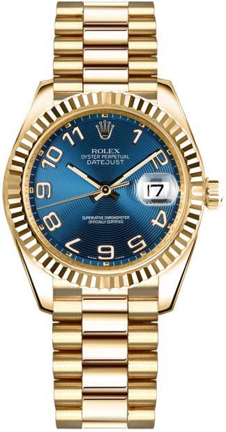replique Montre Rolex Datejust 31 cadran bleu en or massif 178278