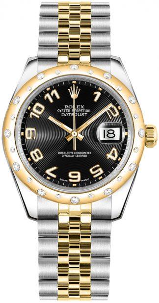 replique Montre Rolex Datejust 31 cadran noir or et acier 178343