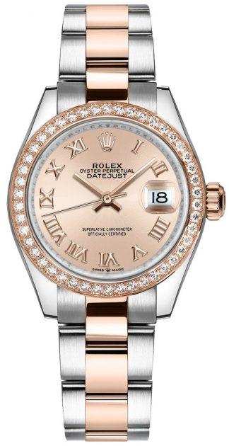 replique Montre Rolex Datejust 31 cadran rose deux tons pour femme 278381RBR