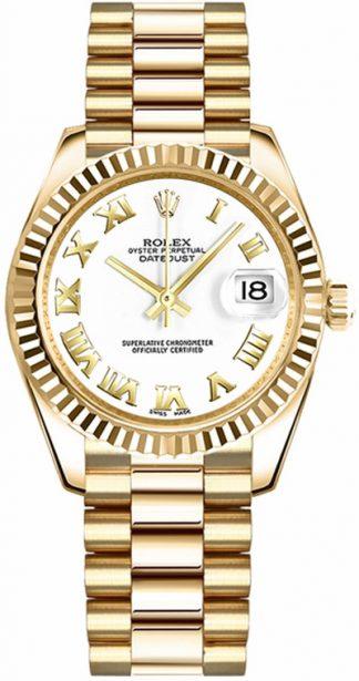 replique Montre Rolex Datejust 31 en or blanc avec chiffres romains 178278
