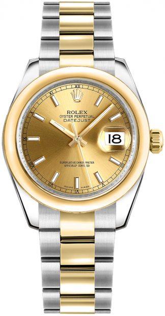 replique Montre Rolex Datejust 31 en or jaune et acier 178243
