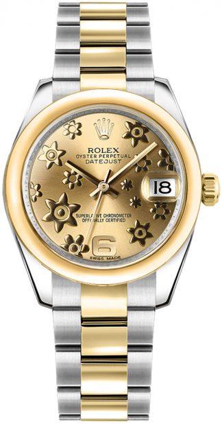 replique Montre Rolex Datejust 31 en or jaune et acier huilé 178243