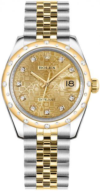 replique Montre Rolex Datejust 31 en or massif 18 carats et acier 178343