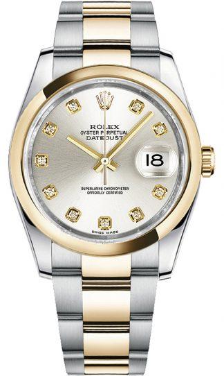 replique Montre Rolex Datejust 36 à cadran argenté et diamant 116203