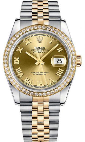 replique Montre Rolex Datejust 36 à chiffres romains en or et acier 116243