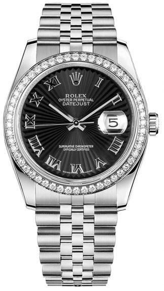 replique Montre Rolex Datejust 36 Diamond Bezel Black 116244