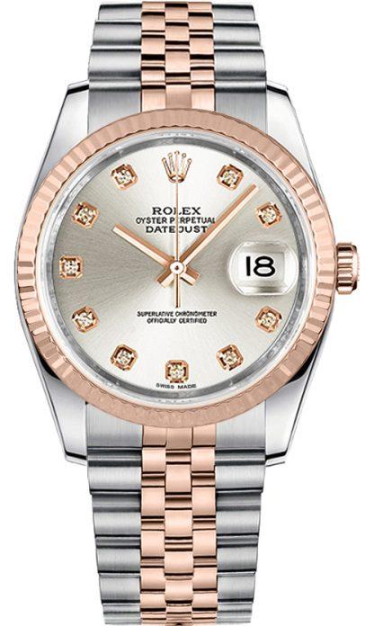 replique Montre Rolex Datejust 36 Diamond Silver Dial 116231