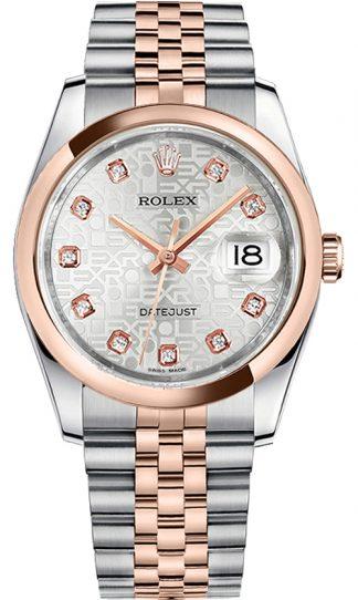 replique Montre Rolex Datejust 36 Everose or et acier 116201
