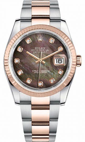 replique Montre Rolex Datejust 36 automatique en or rose et acier 116231