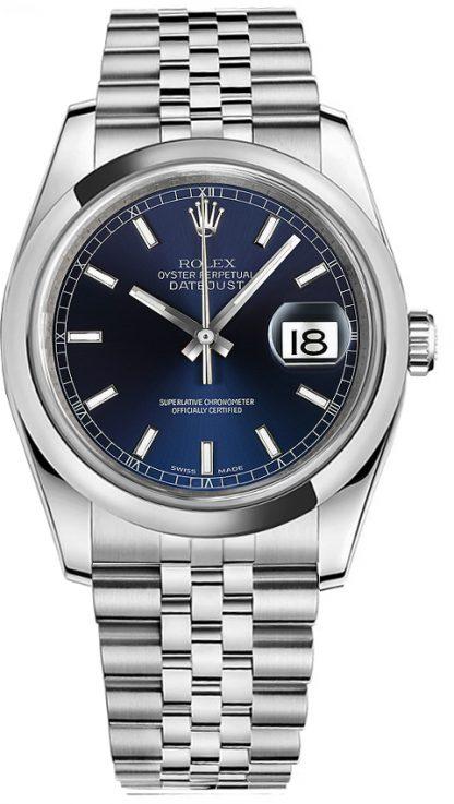 replique Montre Rolex Datejust 36 avec lunette bombée et cadran bleu 116200