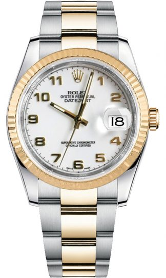 replique Montre Rolex Datejust 36 cadran blanc or et acier 116233