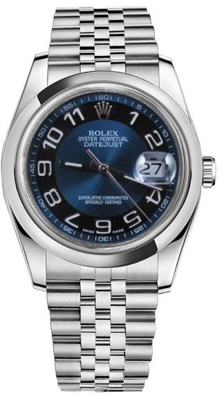 replique Montre Rolex Datejust 36 cadran bleu lunette bombée 116200