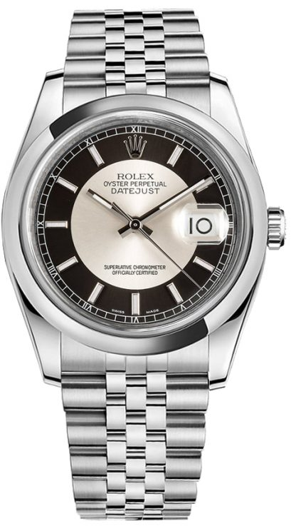 replique Montre Rolex Datejust 36 cadran noir et argent 116200