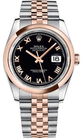 replique Montre Rolex Datejust 36 cadran noir pour homme en or et acier 116201