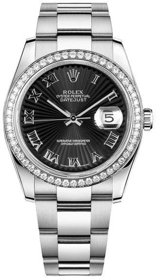 replique Montre Rolex Datejust 36 en acier inoxydable et or blanc 116244