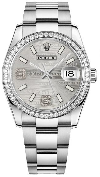 replique Montre Rolex Datejust 36 en acier inoxydable et or blanc 18 carats 116244
