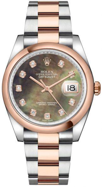 replique Montre Rolex Datejust 36 en acier inoxydable et or rose 116201