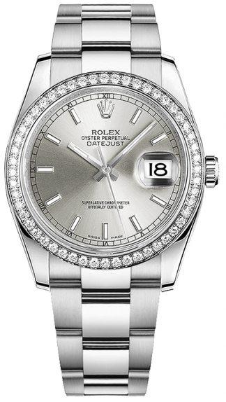 replique Montre Rolex Datejust 36 en or blanc et acier huilé 116244