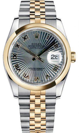 replique Montre Rolex Datejust 36 en or jaune et acier 116203