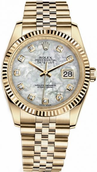 replique Montre Rolex Datejust 36 en or jaune massif 18 carats 116238