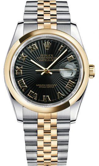 replique Montre Rolex Datejust 36 en or jaune massif et acier 116203
