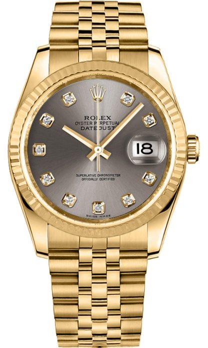 replique Montre Rolex Datejust 36 en or massif 18 carats 116238
