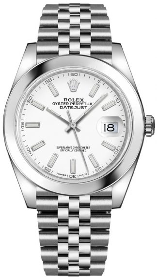 replique Montre Rolex Datejust 41 cadran blanc Oystersteel chronomètre automatique pour hommes 126300