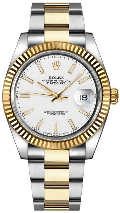 replique Montre Rolex Datejust 41 cadran blanc pour homme en or et acier 126333