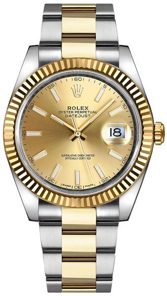replique Montre Rolex Datejust 41 lunette cannelée en or et acier 126333