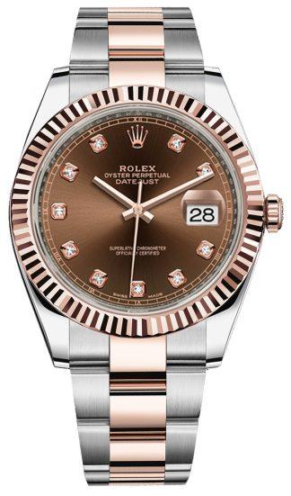 replique Montre Rolex Datejust 41 pour homme en or rose massif et acier 126331