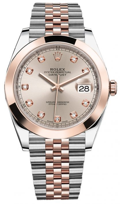 replique Montre Rolex Datejust 41 solide en or rose 18 carats et acier 126301