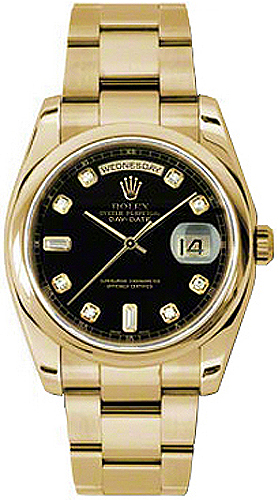 replique Montre Rolex Day-Date 36 Black Diamond Gold 118208