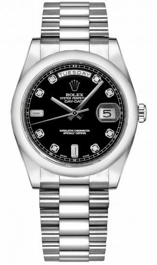 replique Montre Rolex Day-Date 36 Black Diamond Gold 118209