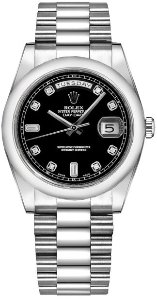 replique Montre Rolex Day-Date 36 Black Diamond Platinum 118206
