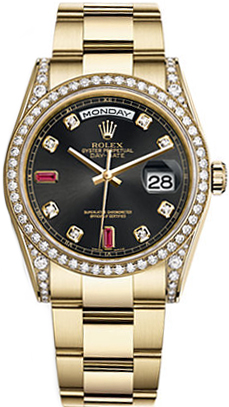 replique Montre Rolex Day-Date 36 Black Diamond Rubis Gold 118388