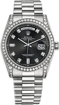 replique Montre Rolex Day-Date 36 Black Diamond en or blanc 118389
