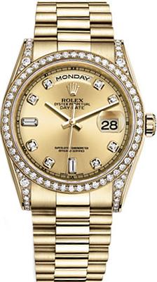 replique Montre Rolex Day-Date 36 Champagne Diamond 118388