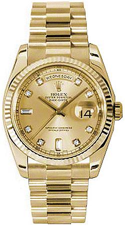 replique Montre Rolex Day-Date 36 Champagne Diamond Gold 118238