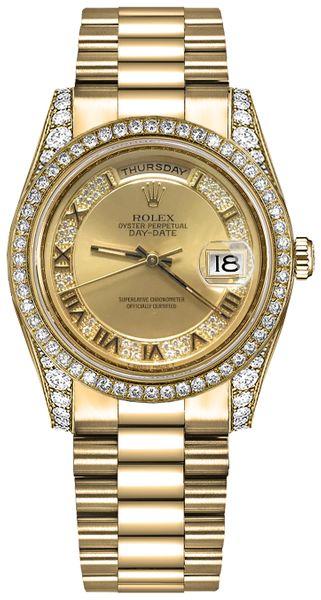 replique Montre Rolex Day-Date 36 Champagne Diamond Gold 118388