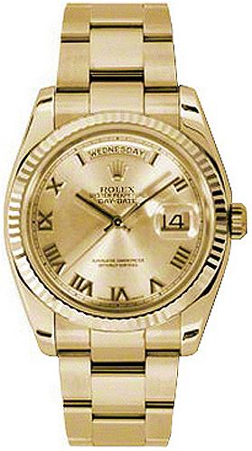 replique Montre Rolex Day-Date 36 Champagne en chiffres romains en or jaune 118238