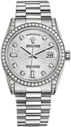 replique Montre Rolex Day-Date 36 Luxury en or blanc 118389