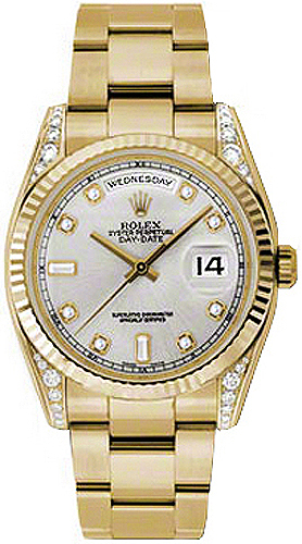 replique Montre Rolex Day-Date 36 Silver Diamond Gold 118338